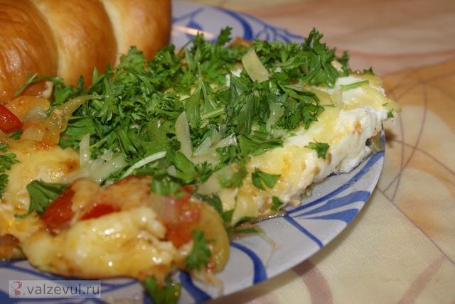яйца франция рецепт овощи испания гратен  — 083. Гратен с яйцами по баскски (французский рецепт)